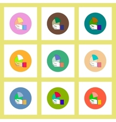Flat icons set of Business pie chart in hand vector