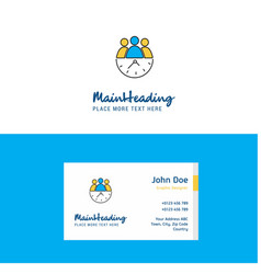 flat team on time logo and visiting card template vector image