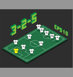 Football 3-2-5 formation with isometric field vector