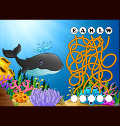Game whales maze find way to the word vector