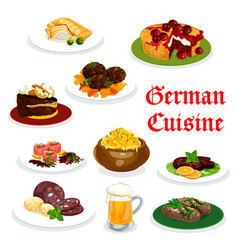 german cuisine dinner icon with traditional food vector image