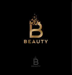 gold b letter flying butterflies beauty logo vector image