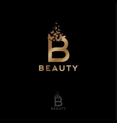 Gold b letter flying butterflies beauty logo vector