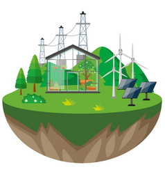 Greenhouse and wind turbines vector