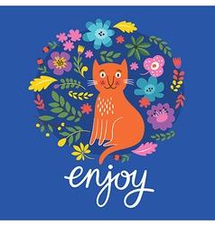 greeting card design enjoy lettering vector image vector image