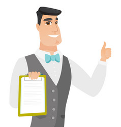 Groom holding clipboard and giving thumb up vector