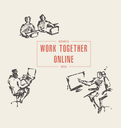 group people work together online laptop vector image