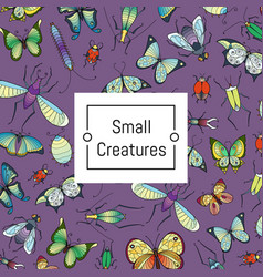 hand drawn insects background with place vector image