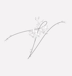 Hand lettering floral v monogram and logo vector