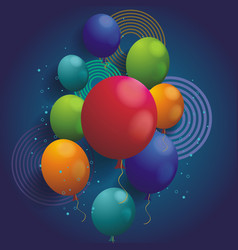 holiday background with balloons and geometric vector image