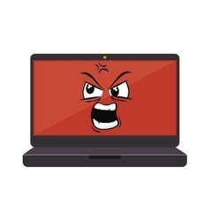 laptop computer character icon vector image