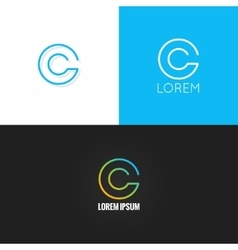 letter C logo alphabet design icon set background vector image