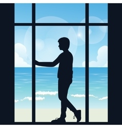Man boys silhouette alone looking to the sea open vector