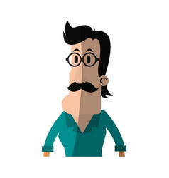 Man with hipster style character icon imag vector