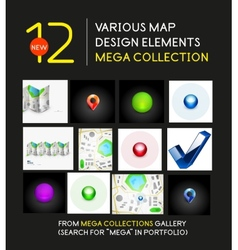 Mega collection of map design elements vector image