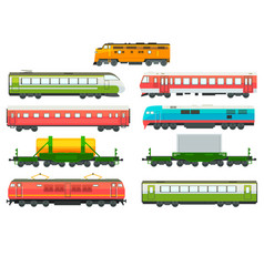 modern railway locomotives freight and passenger vector image