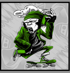Monkey handling spray paint and skateboard vector