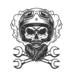motorcyclist skull wearing helmet and goggles vector image