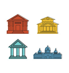 museum icon set color outline style vector image