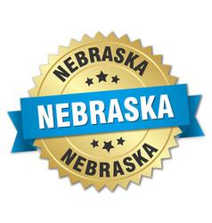 Nebraska round golden badge with blue ribbon vector