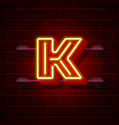 Neon city font letter k signboard vector