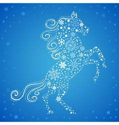 new year card horse made snowflakes vector image