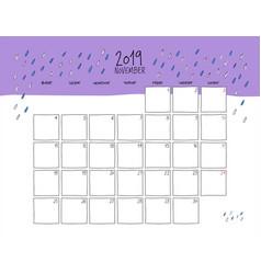 November 2019 wall calendar doodle style vector