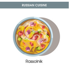 Nutritious rassolnik in deep bowl from russian vector