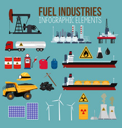 Oil and fuel industry infographics elements vector