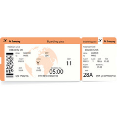 orange modern airline boarding pass vector image