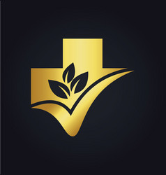 Organic leaf cross hospital medic gold logo vector