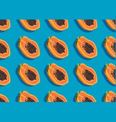 papaya fruits seamless pattern on blue background vector image