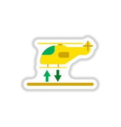 Paper sticker on white background helicopter vector