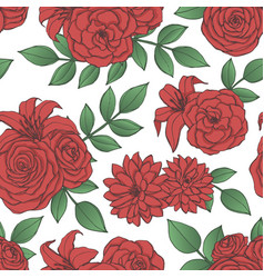 pattern with red lily rose peony flowers vector image