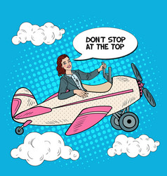 pop art successful woman riding vintage airplane vector image