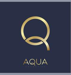q aqua logo jewelry shop clothes swimming gold vector image