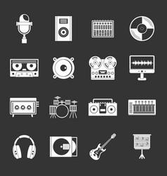 Recording studio items icons set grey vector