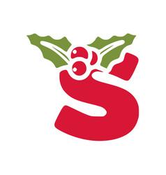 Red letter s with mistletoe christmas lettering vector