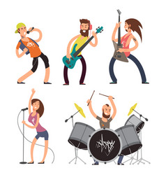 Rock musicians and singers isolated on white vector