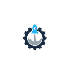 rocket gear logo icon design vector image