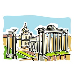 Rome ancient Roman Forum vector