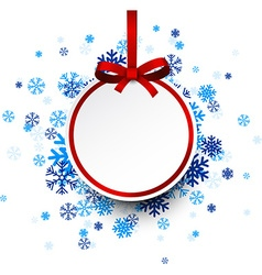 Round paper christmas ball on blue snowflakes vector