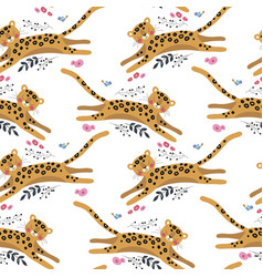 seamless pattern with funny leopard and bir vector image