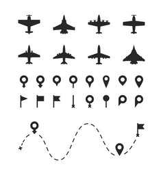 Set airplane and pin symbols different types vector