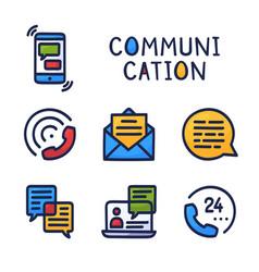 set communication simple outline color icon vector image