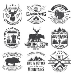 set hunting club and outdoor adventure quotes vector image