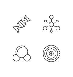 Set line icons molecule vector