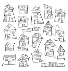 Set of line art cartoon houses vector