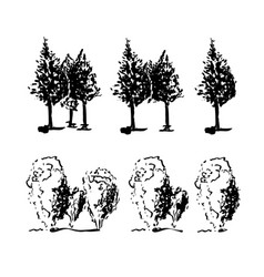 Set of trees three two and one tree in line vector