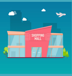 Shopping mall building exterior flat design style vector